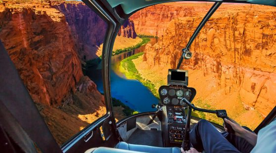View from a helicopter of the Colorado River