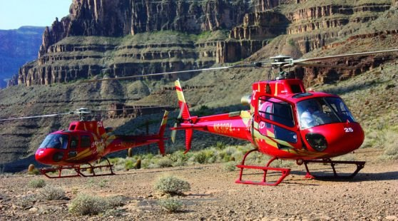 Canyon helicopters at the bottom of the Grand Canyon