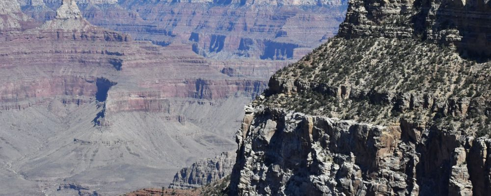 The Grand Canyon National Park South Rim view stretches miles across the canyon and is still visible on a clear day.