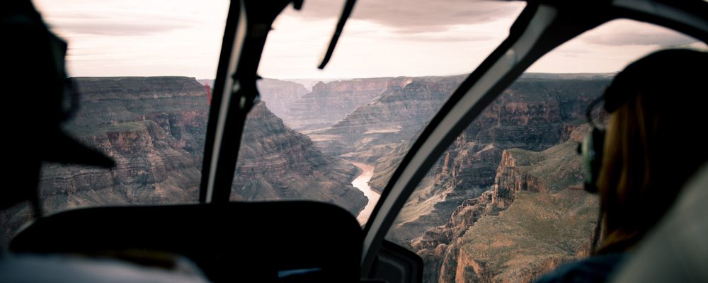 View from a Grand Canyon helicopter tour over the West Rim